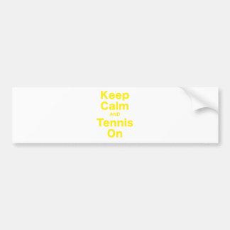 Keep Calm and Tennis On Car Bumper Sticker