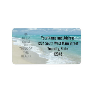 Keep Calm and Think of the Beach Address Label