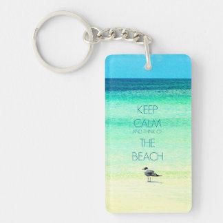 Keep Calm and Think of the Beach Key Chain II