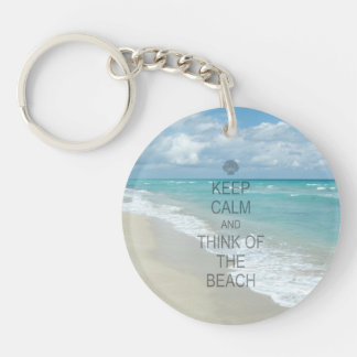 Keep Calm and Think of the Beach Single-Sided Round Acrylic Key Ring