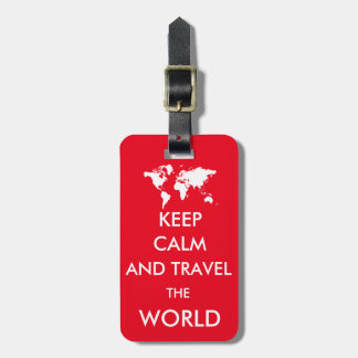 Keep calm and travel the world bag tag