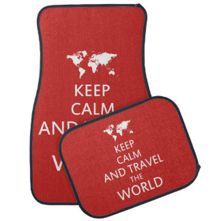 Keep calm and travel the world car mat