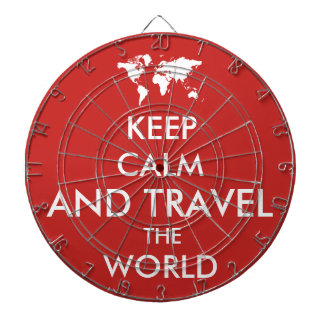 Keep calm and travel the world dartboard
