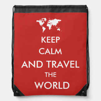 Keep calm and travel the world drawstring bag