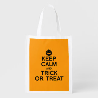 KEEP CALM AND TRICK OR TREAT - Halloween - png Grocery Bag