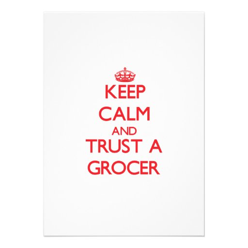 Keep Calm and Trust a Grocer Invite