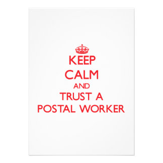 Keep Calm and Trust a Postal Worker Personalized Announcement