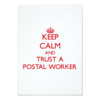 Keep Calm and Trust a Postal Worker 13 Cm X 18 Cm Invitation Card