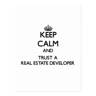 Keep Calm and Trust a Real Estate Developer Post Card
