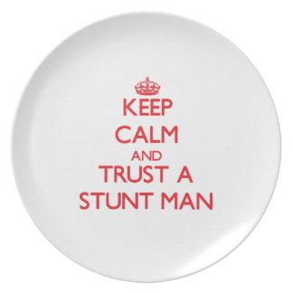 Keep Calm and Trust a Stunt Man Dinner Plates