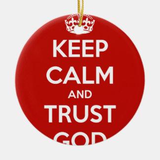 Keep Calm and Trust God Round Ceramic Decoration