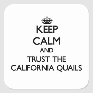 Keep calm and Trust the California Quails Square Sticker