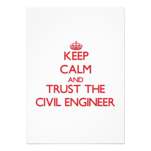 Keep Calm and Trust the Civil Engineer Custom Invitation