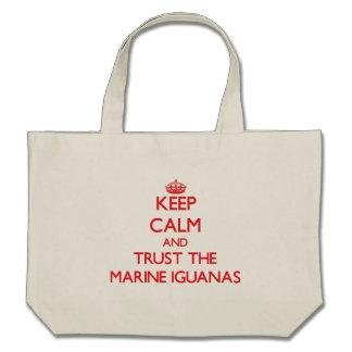 Keep calm and Trust the Marine Iguanas Canvas Bags