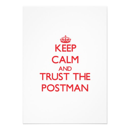 Keep Calm and Trust the Postman Personalized Invite