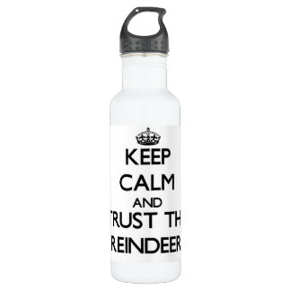 Keep calm and Trust the Reindeer 24oz Water Bottle