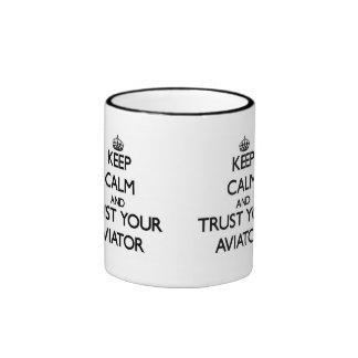 Keep Calm and Trust Your Aviator Ringer Mug