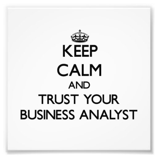 Keep Calm and Trust Your Business Analyst Photographic Print