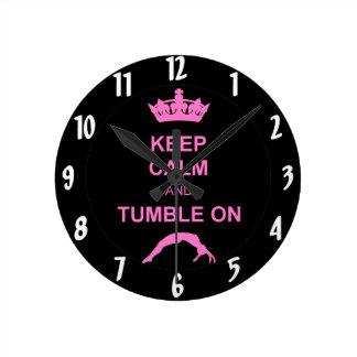 Keep calm and tumble gymnast round clock