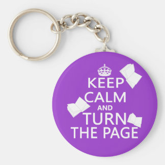 Keep Calm and Turn The Page Keychain