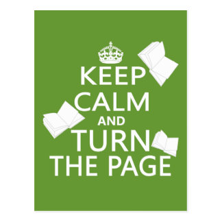 Keep Calm and Turn The Page Postcard
