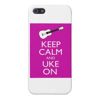 Keep Calm and Uke On (Fuschia) iPhone 5/5S Cover