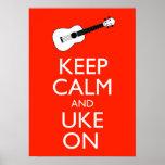 Keep Calm And Uke On Ukulele Poster Print