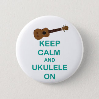 Keep Calm and Ukulele On unique Hawaii fun print 6 Cm Round Badge