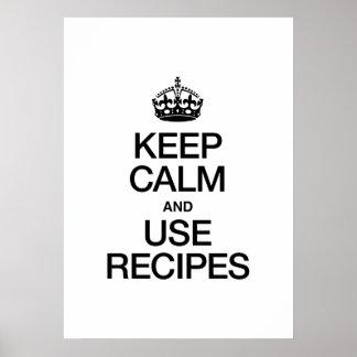 KEEP CALM AND USE RECIPES PRINT