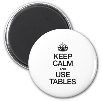 KEEP CALM AND USE TABLES REFRIGERATOR MAGNETS