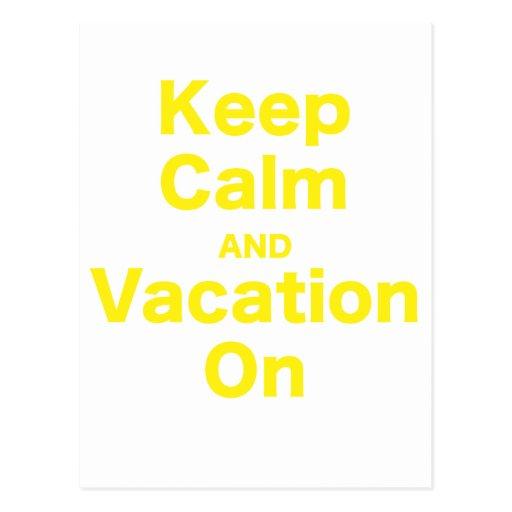 Keep Calm and Vacation On Postcard
