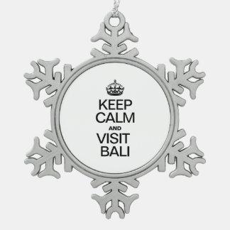 KEEP CALM AND VISIT BALI PEWTER SNOWFLAKE DECORATION