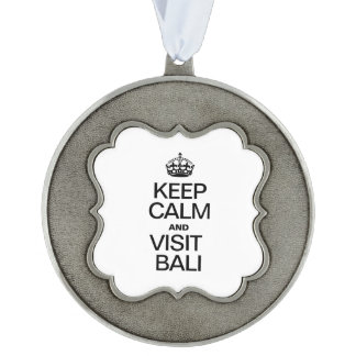 KEEP CALM AND VISIT BALI SCALLOPED PEWTER ORNAMENT