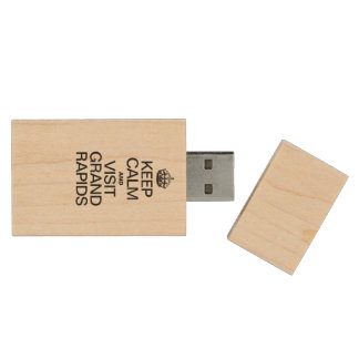KEEP CALM AND VISIT GRAND RAPIDS WOOD USB 2.0 FLASH DRIVE