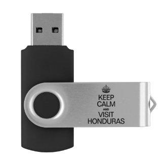 KEEP CALM AND VISIT HONDURAS SWIVEL USB 2.0 FLASH DRIVE