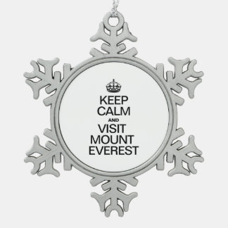 KEEP CALM AND VISIT MOUNT EVEREST SNOWFLAKE PEWTER CHRISTMAS ORNAMENT