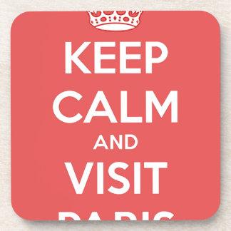 Keep Calm and Visit Paris Beverage Coasters