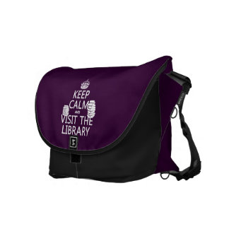 Keep Calm and Visit the Library - in any color Courier Bag