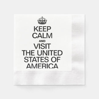KEEP CALM AND VISIT THE UNITED STATES OF AMERICA PAPER NAPKINS