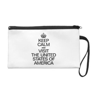 KEEP CALM AND VISIT THE UNITED STATES OF AMERICA. WRISTLET PURSE