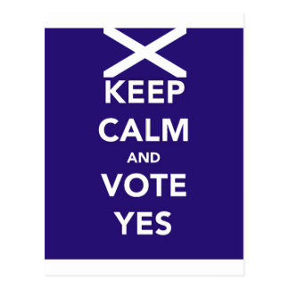 Keep calm and vote yes postcard