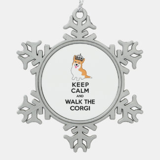Keep Calm and Walk the Corgi Cute Dog Snowflake Pewter Christmas Ornament