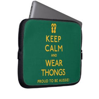 Keep Calm and Wear Thongs! Laptop Computer Sleeve