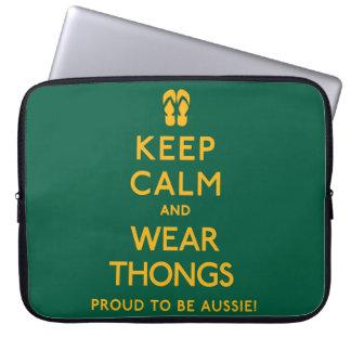 Keep Calm and Wear Thongs! Laptop Sleeve