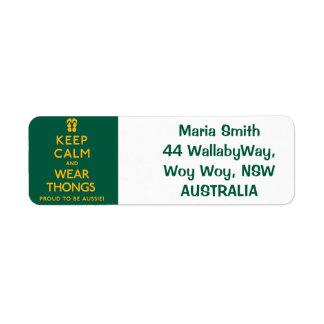 Keep Calm and Wear Thongs! Return Address Label