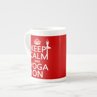 Keep Calm and Yoga On (customize colors) Bone China Mug