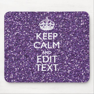Keep Calm and Your Text on Stylish Purple Mouse Pad