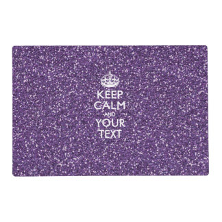 Keep Calm and Your Text on Stylish Purple Placemat