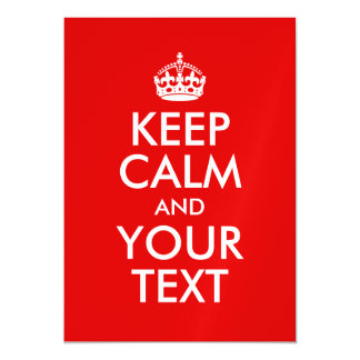 Keep Calm and Your Text Red Magnetic Invitations