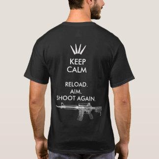 KEEP CALM AR-15 RELOAD AIM SHOOT AGAIN T-SHIRT